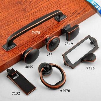 цены 7PCS/LOT Europe Retro Brass Black Red Cupboard Closet Cabinet Furniture Handle Knob Drawer Knob Locker Pull Free Screws