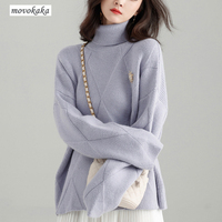 MOVOKAKA Sweater Winter Coat Turtleneck Women Loose Pullover Thick Sweater Female Knitted Turtleneck Pullover Sweater Women Long