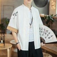 2019 chinese style mens shirt cotton linen half sleeve pockets tops loose male shirts casual camisa masculina