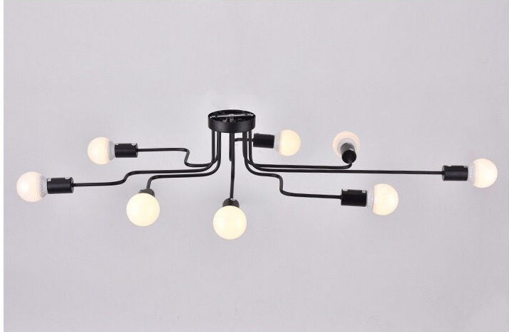 E27 Bulb Led Vintage Ceiling Lamp Fixtures Country Classic Living Bedroom Coffee Shop Bar 8 Led Bulbs Pendant Lighting