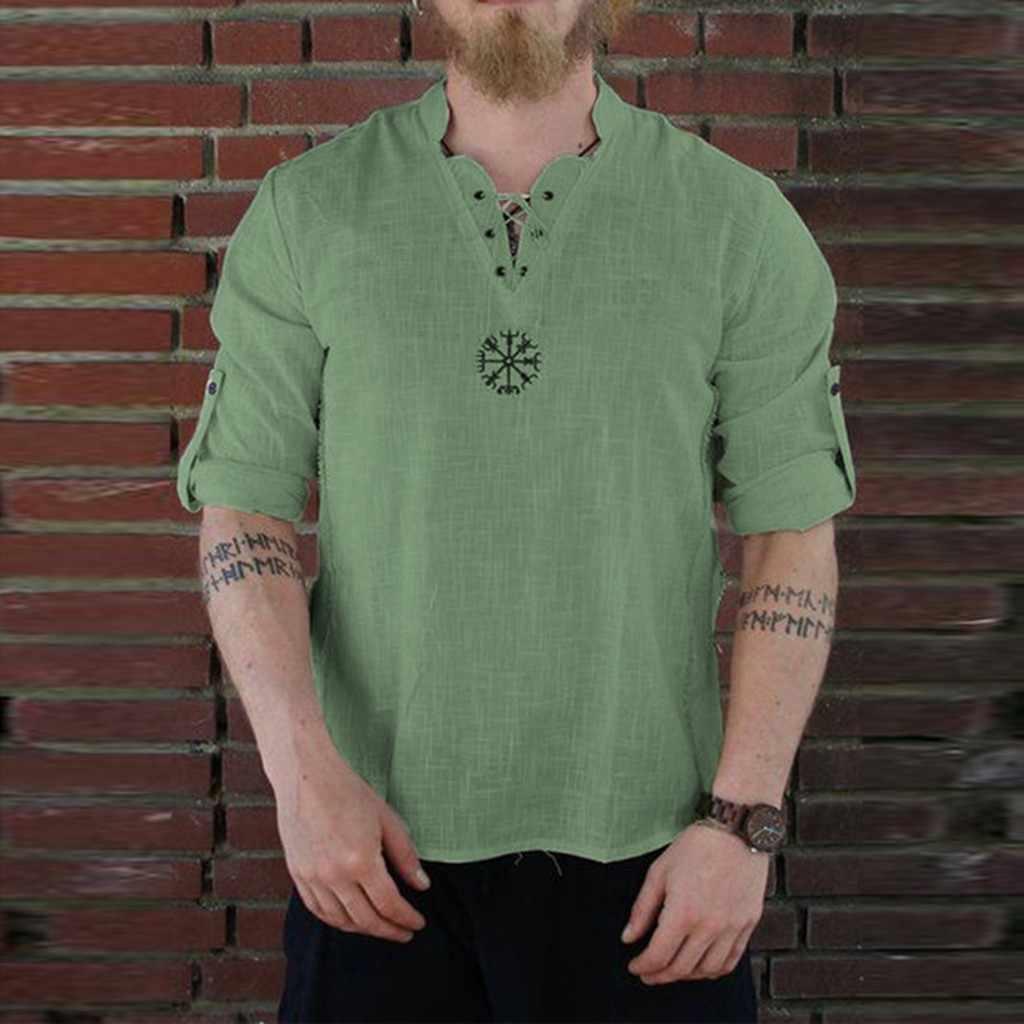 MUQGEW 男性長袖リネン tシャツメンズ夏新スタイルファッショナブルな人格綿リネン純粋な長袖トップ # y4