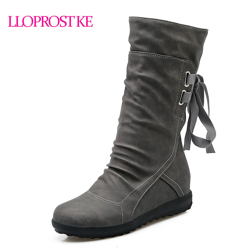 Women Winter Snow Boots Mid-Calf Solid Wedges Ladies Height Increasing Shoes Casual Leather Boot Woman Warm Botas Mujer AA238 women snow boots winter warm shoes solid color flat ladies snow boots round toe mid calf women boot platform girls school shoes