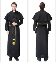 Adult Pastor Priest Monk Robe Costume Suit Godfather Missionary Nun Serving Priest Serving Halloween Male Cosplay Costume