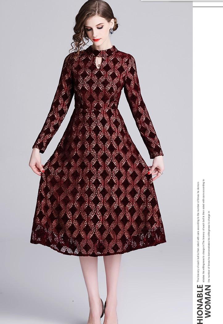 2019 New quality design wine slim embroidery dresses girls casual spring European style elegant vestidos lady