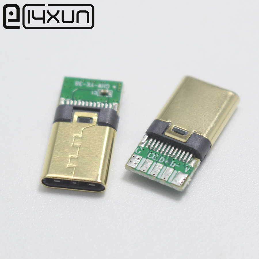 4pcs DIY OTG USB-3.1 5Pin Welding Male Plug USB 3.1 Type C Connector With PCB Board Gold-plated Terminal For Android