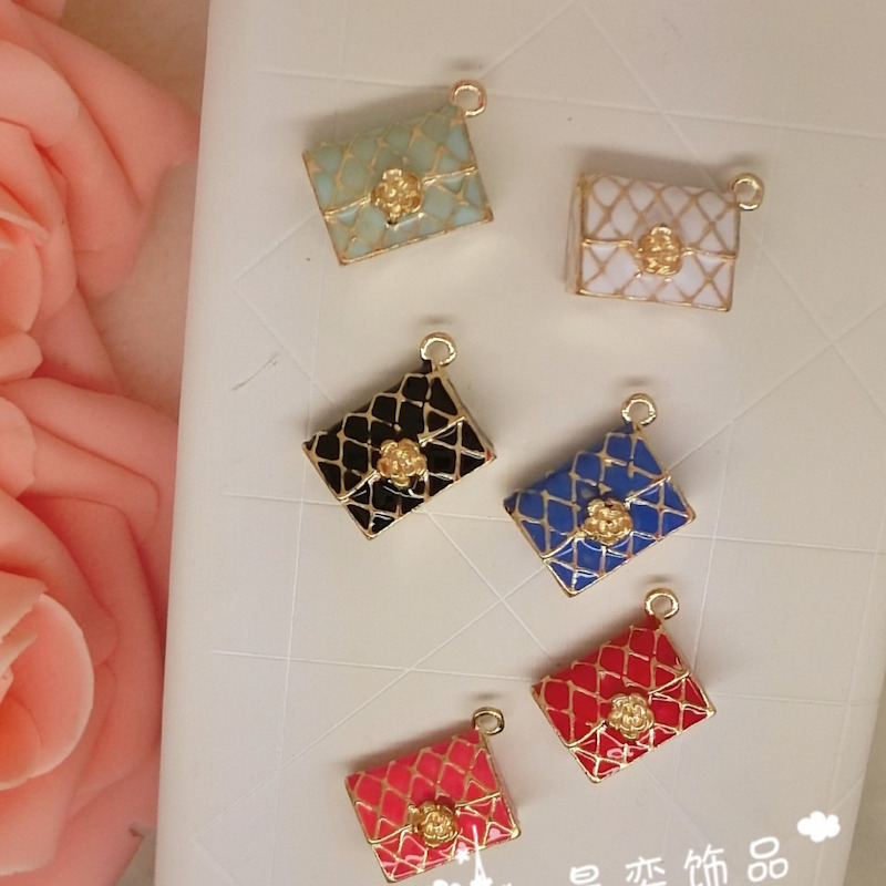 Hot Deals10pcs/lot rhombus bag without back pendant alloy enamel charm DIY accessories of necklace bracelet headdress handmade fitting