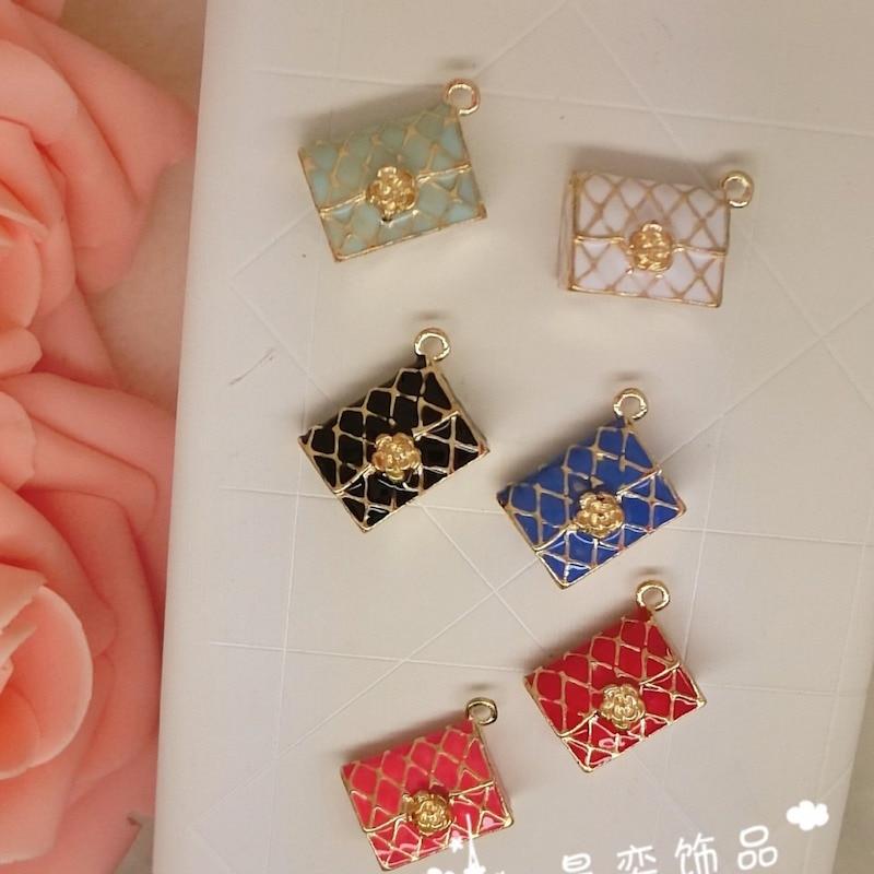 Closeout Deals10pcs/lot rhombus bag without back pendant alloy enamel charm DIY accessories of necklace bracelet headdress handmade fitting