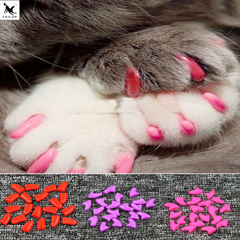 100X 20 pcs Soft Silicone Cat Nail Caps Colorful Cat Paw Claw Pet Nail Protector Cat