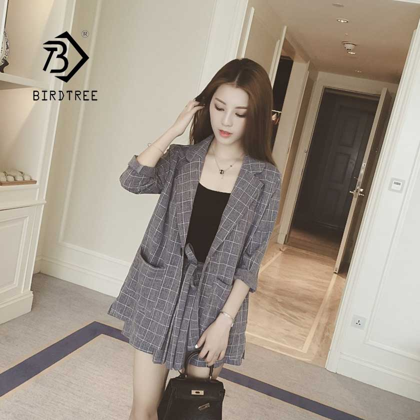 2019 Summer Casual Plaid Short Pant Suits 2 Piece Set Women's Single Button Pocket Lace Up Bow Notched Female Hot Sale S95514Z
