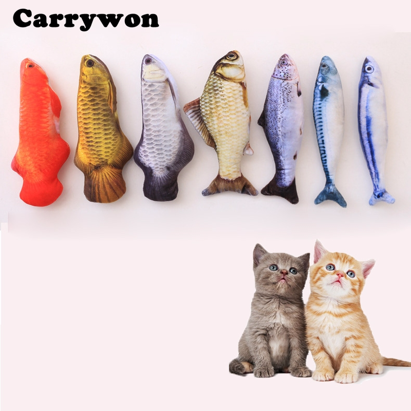 Carrywon Cat Toy Plush Creative 3D Fish Shape Cat Toy Simulation Vivid Fish Thicker Short Plush Stuffed Cats Scratch Chew Toys