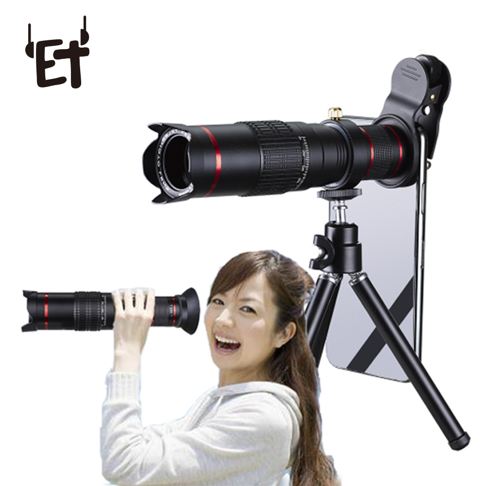 ET teléfono móvil lente teleobjetivo Zoom óptico Universal 12X 15X 22x telescopio Monocular lente de Zoom óptico con trípode