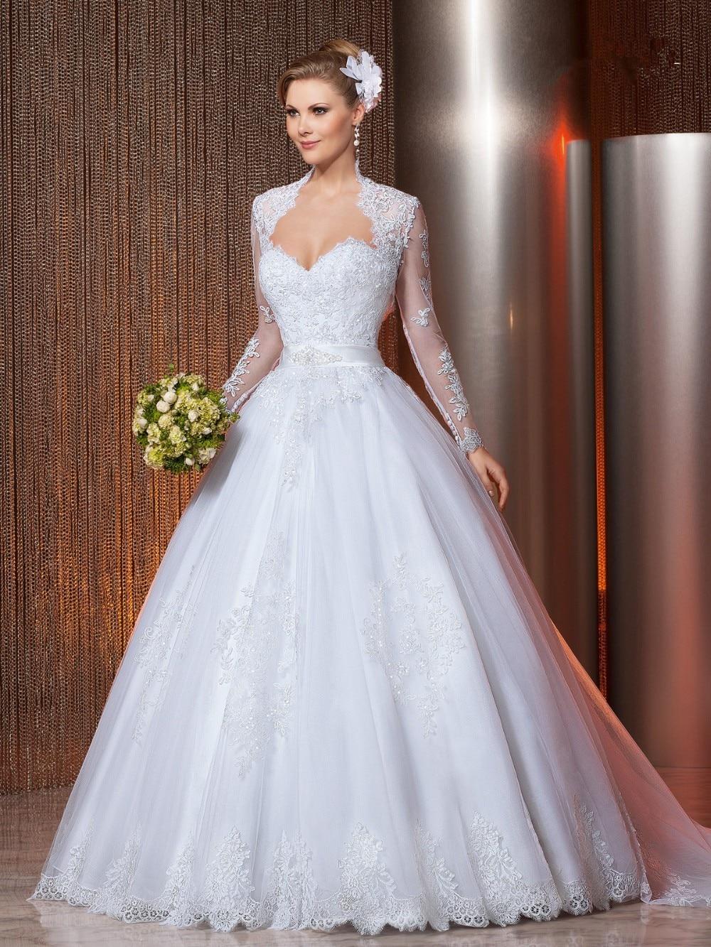 Aliexpress.com : Buy Long Sleeves Lace Wedding Dress Sweetheart ...