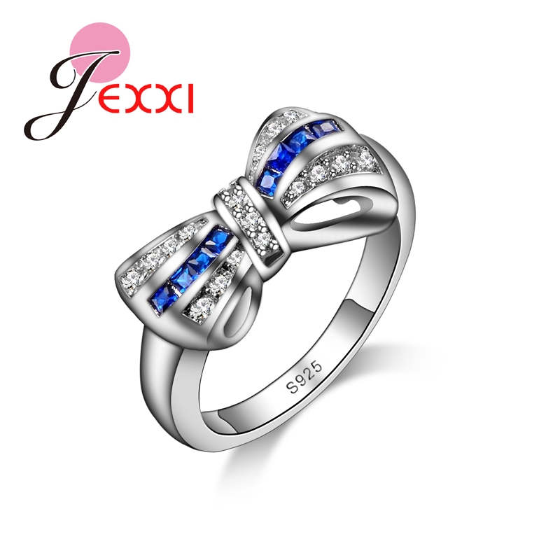 JEXXI Cute Birthday Gift For Lover Beautiful Bow Design With Full CZ 925 Sterling Silver Rings For Ladies Hot Sale