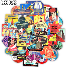 55 PCS Retro Hotel Style Stickers Graffiti Building Logo Travel Sticker to DIY Suitcase Luggage Laptop Fridge Car Bicycle Phone 56pcs waterproof sunscreen pvc retro decal labels funny removable car fridge luggage suitcase travel graffiti stickers