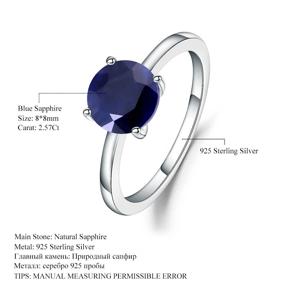 9932661a4b ... Gem's Ballet 2.57Ct Natural Blue Sapphire 925 Sterling Silver Gemstone  Solitaire Wedding Engagement Rings For ...