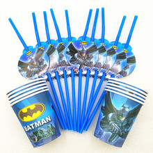 20pcs/set Batman Party Supplies Drinking Straws Cup Birthday Decoration Baby Shower Theme Festival Tablerwre