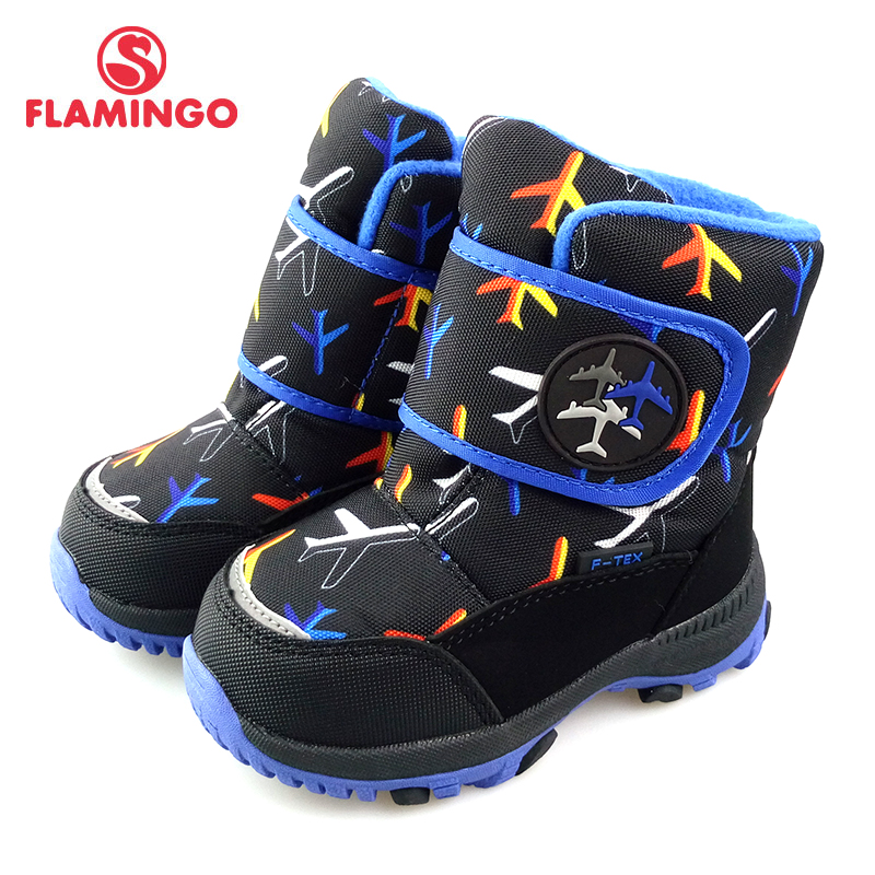 FLAMINGO Winter Waterproof Wool Warm Hook & Loop High Quality Kids Shoes Anti-slip Size 22-27 Snow Boots for Boy 82M-QK-0941 ps007 star pattern waterproof anti slip full finger gloves for children black pair free size
