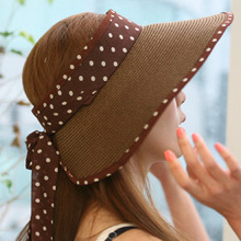 Summer folding straw sun hat with dot bow big sun hat wide brim beach hat folded women's summer hat