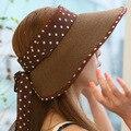 Verano plegable de paja sombrero de sol con dot arco gran sombrero para el sol sombrero de ala ancha playa sombrero plegable sombrero del verano de las mujeres