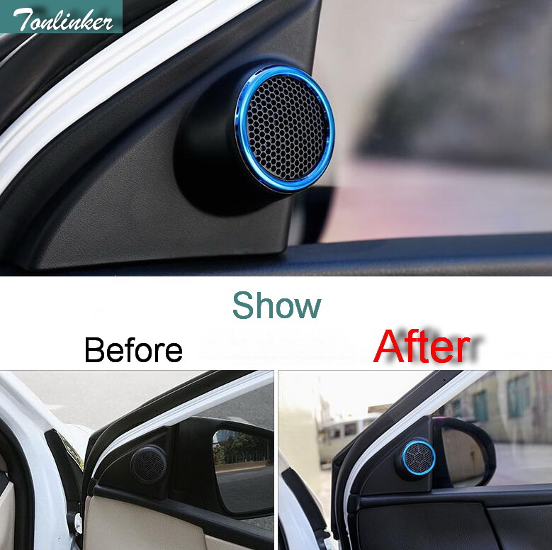 Tonlinker 2 PCS DIY Car Styling Stainless Steel Tweeter speaker Decorative cover case Stickers For TOYOTA Corolla Altis 2014