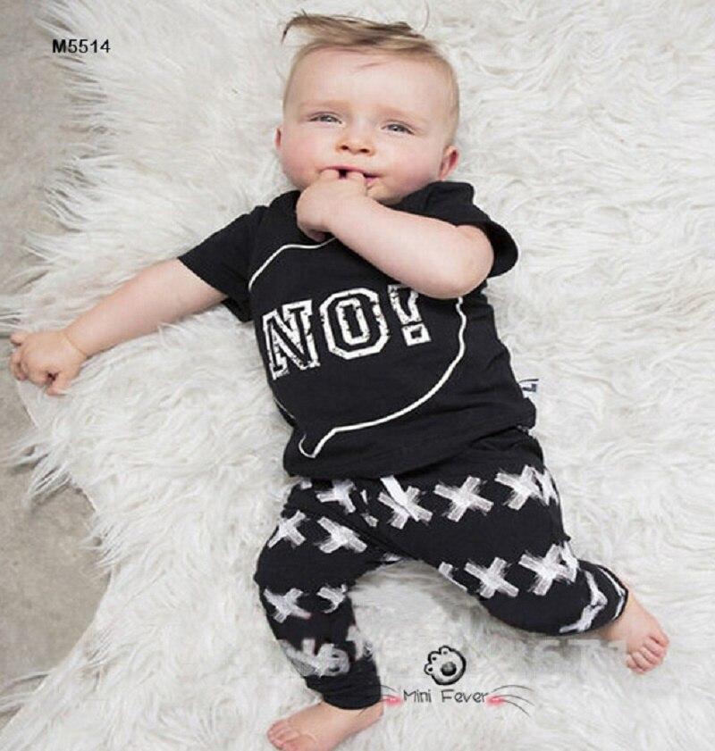 2016 Summer Brand Baby Clothing Set Black Letter No T shirt Pant Baby Boy 2pcs Set Brand Baby Boy Clothes Set