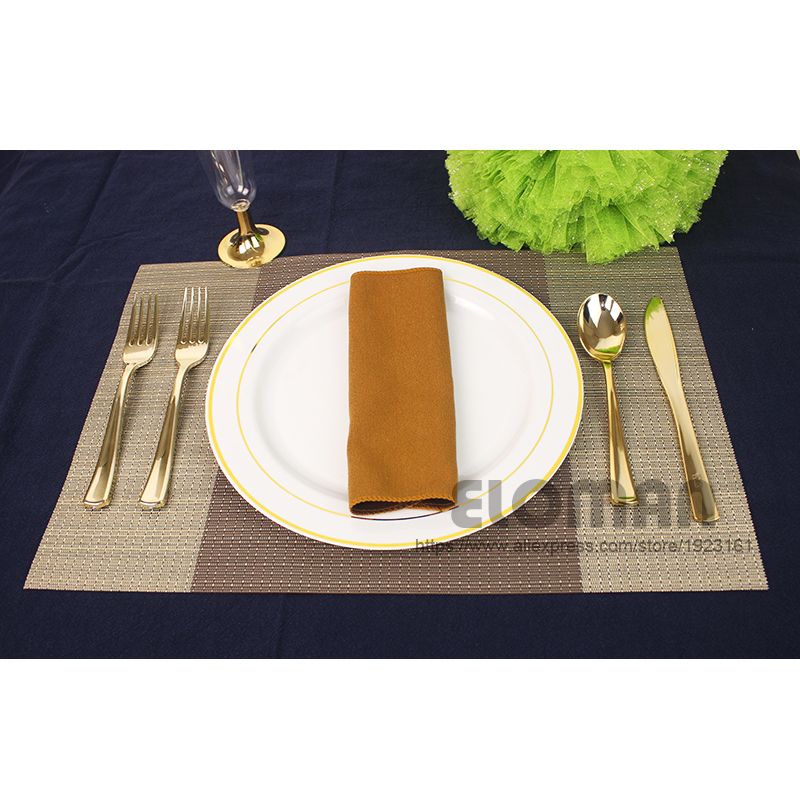 Eloman 160 pcs 무거운 의무 일회용 플라스틱 식기 금, 의식 결혼식 수용체 베이비 샤워 모임 생일-에서일회용 파티 식기부터 홈 & 가든 의  그룹 3