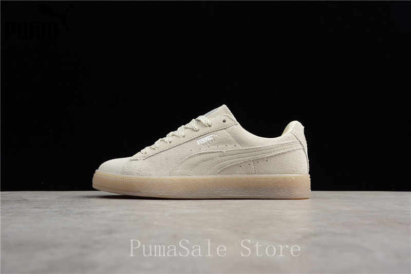 detailed look b8a39 6c7a2 Puma Suede Classic Mono Ref ICED Leather Sneaker 362101-09 Men Trainers  Beige Women Badminton Shoes Size EUR35.5-44