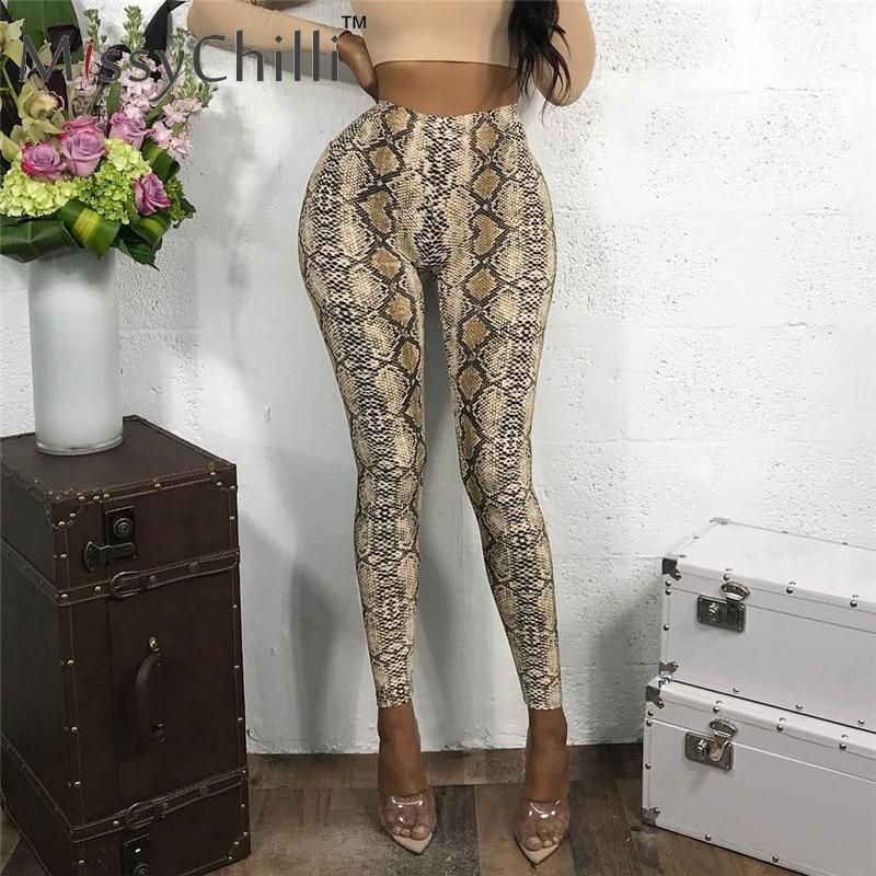 MissyChilli Snake print bodycon high waist long   pants  &  capris   Women skinny club bottoms Female summer streetwear casual   pants