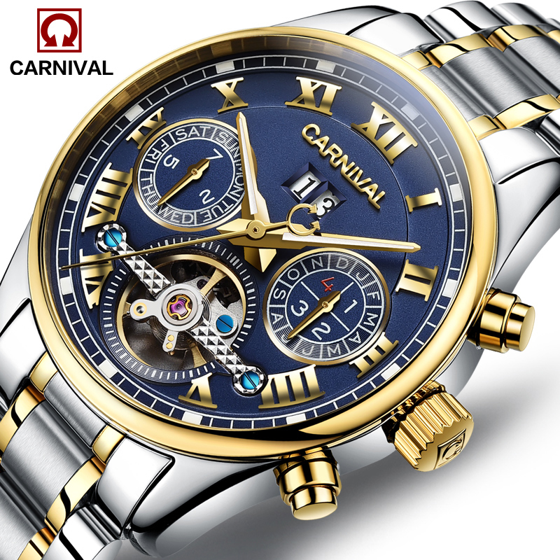 Luxury Carnival tourbillon font b watch b font men silver stainless steel waterproof Automatic machine date