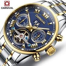 Carnaval de lujo máquina Automática fecha tourbillon reloj de los hombres de plata de acero inoxidable a prueba de agua reloj relogio masculino