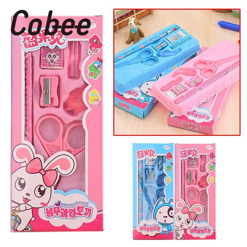 Cobee 6pcs/Set Supplies Stationery Kids Gift Student Eraser Scissors Pencil Sharpener School Cut Paper Stationary Set