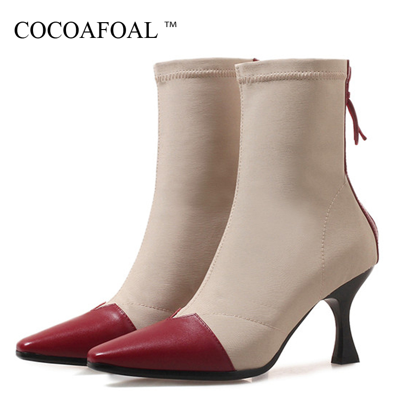купить COCOAFOAL Women's Genuine Leather Ankle Boots Autumn Winter Woman Shoes Chelsea Boots Black Red Genuine Leather Martin Boots недорого