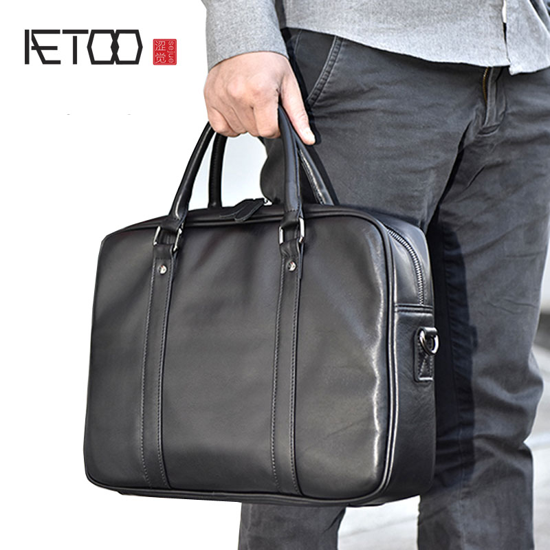 AETOO Handbag Men's Leather Casual Business Briefcase First Layer Cowhide Shoulder Slung Large Capacity Computer Bag Cross Secti