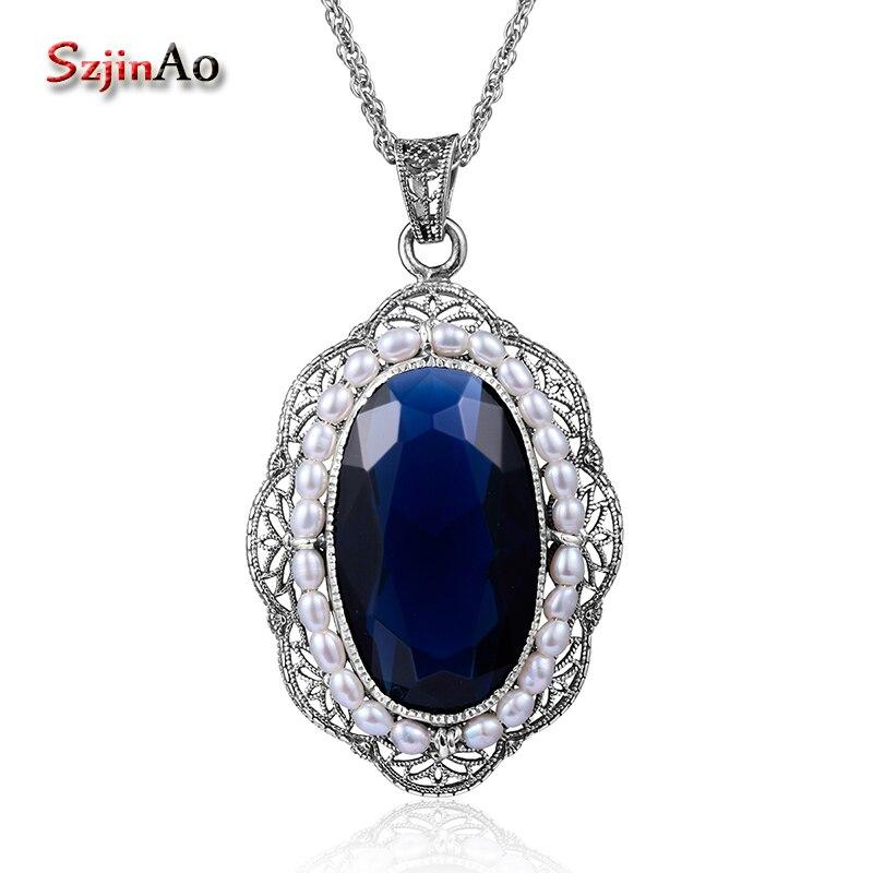 Szjinao Mutiara Air Tawar Alami Liontin Wanita Aksesoris Vintage - Perhiasan bagus