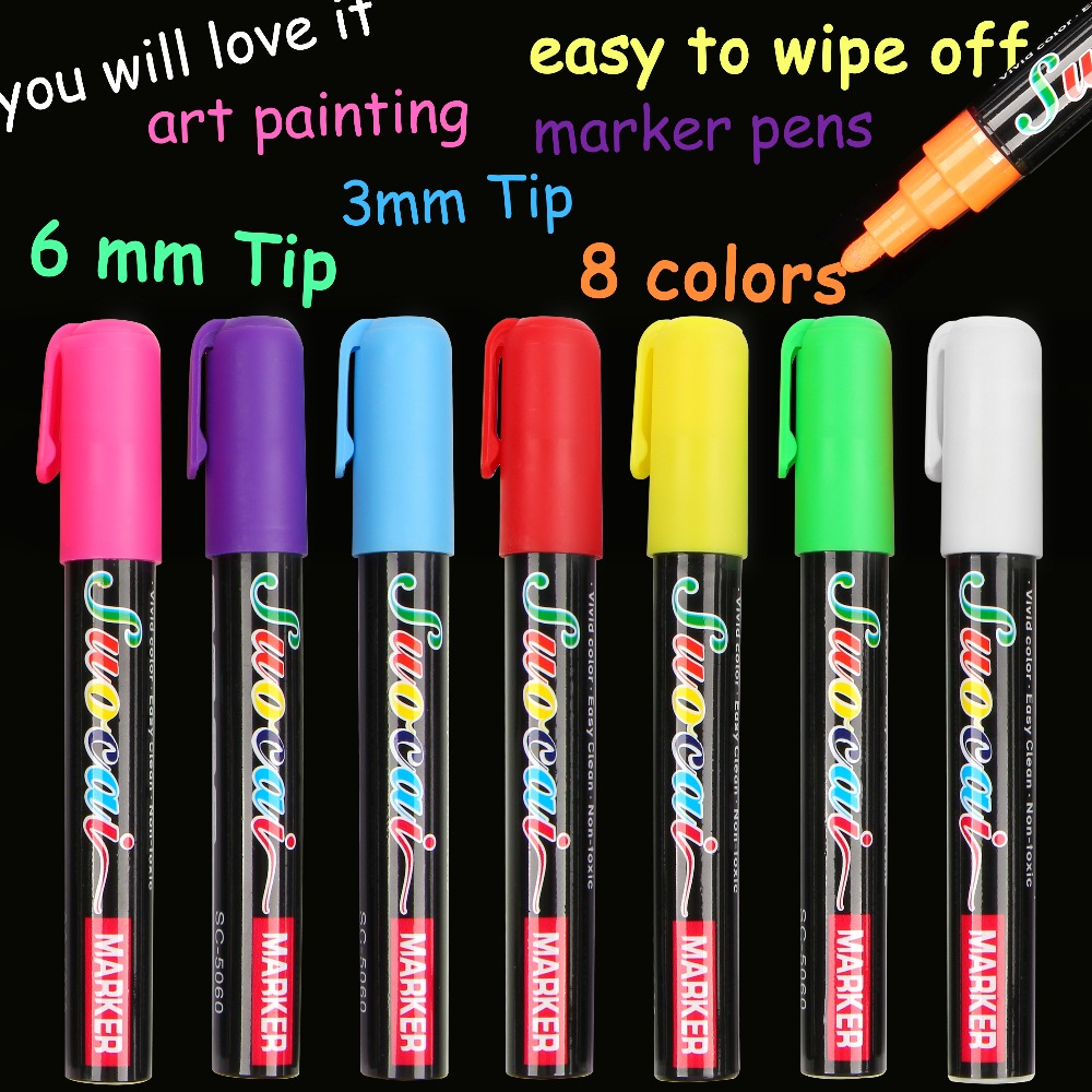 8 Colors Highlighter Liquid Chalk Marker Pens For School Art Painting Round&chisel Tip 6mm 3mm Free Shipping цены