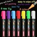 8 colores marcador de tiza líquida plumas para la escuela de arte de pintura y punta cónica 6mm 3mm envío gratis