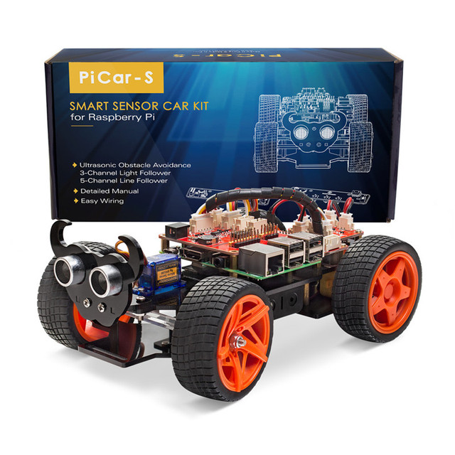 SunFounder Obstacle Avoidance Line Following Remote Control RC Car Kit For Raspberry Pi 3 ,2 Model B+Toy(RPI 3 not included)