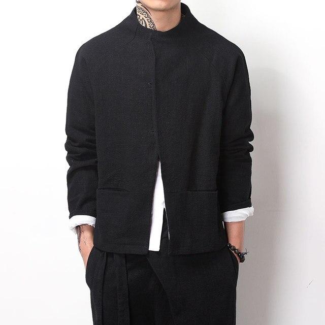 Китайский стиль стенд воротник restor мужская куртка хлопок белье сплошной цвет мужской кардиган пальто высокое качество мужской моды случайные куртка