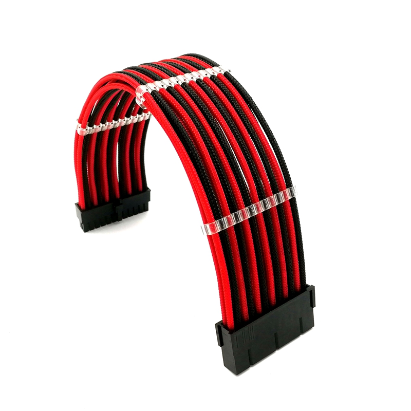 180 Degree Multicolor Sleeved 24Pin ATX/ EPS Male to Female Power Extension Cable + 3pcs Cable Combs high quality atx 24pin motherboard power extension cable 30cm four colors for your choice 18awg 24pin extension cable
