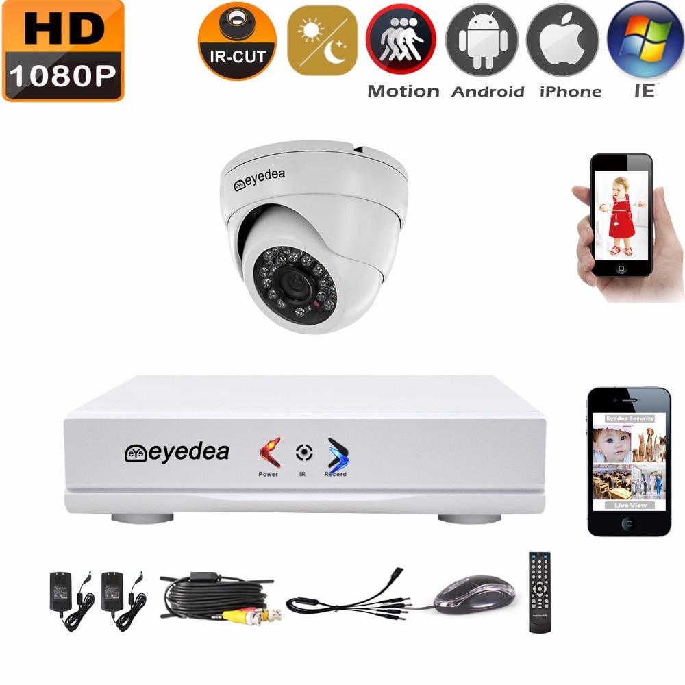 Eyedea 4 CH HDMI DVR Recorder 1080P 2.0MP 5500TVL Dome Night Vision Surveillance Outdoor Waterproof CCTV Security Camera System