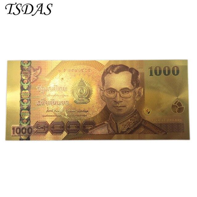 Màu Thái Lan 24 K Vàng Tiền Giấy 1000 Baht Tệ Tiền Giấy Tiền Tiền Giấy