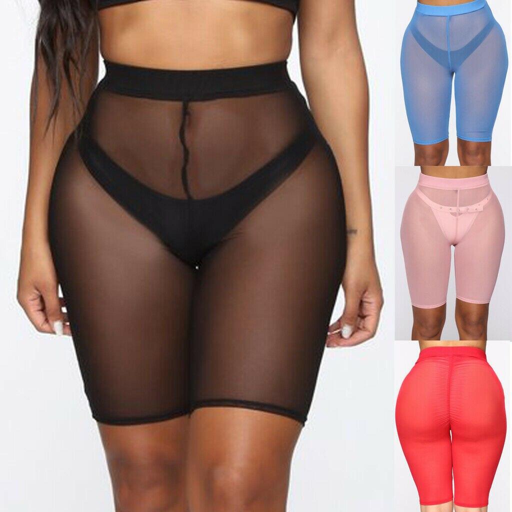 4 Colors Mesh Shorts Women See-through Beach Swimwear Cover Ups New High Waist Pure Color Bikini Cover Ups Bathing Shorts