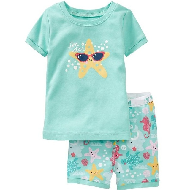 Cute Starfish Pajama For Girls Summer Cotton Casual Clothing Good