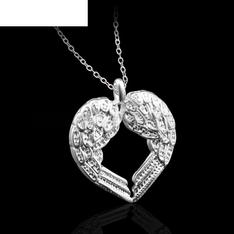 Best seller Drop Shipping Fashion Women Silver Angel Wing shaped Heart Pendant Necklace Jewelry2017 Oct20