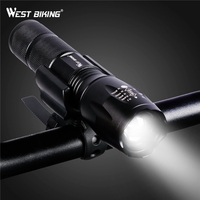 WEST BIKING Bicycle Focus Flashlight Torch Zoom USB Rechargeable LED 3 Modes Outdoor Cycling Lamp Portable