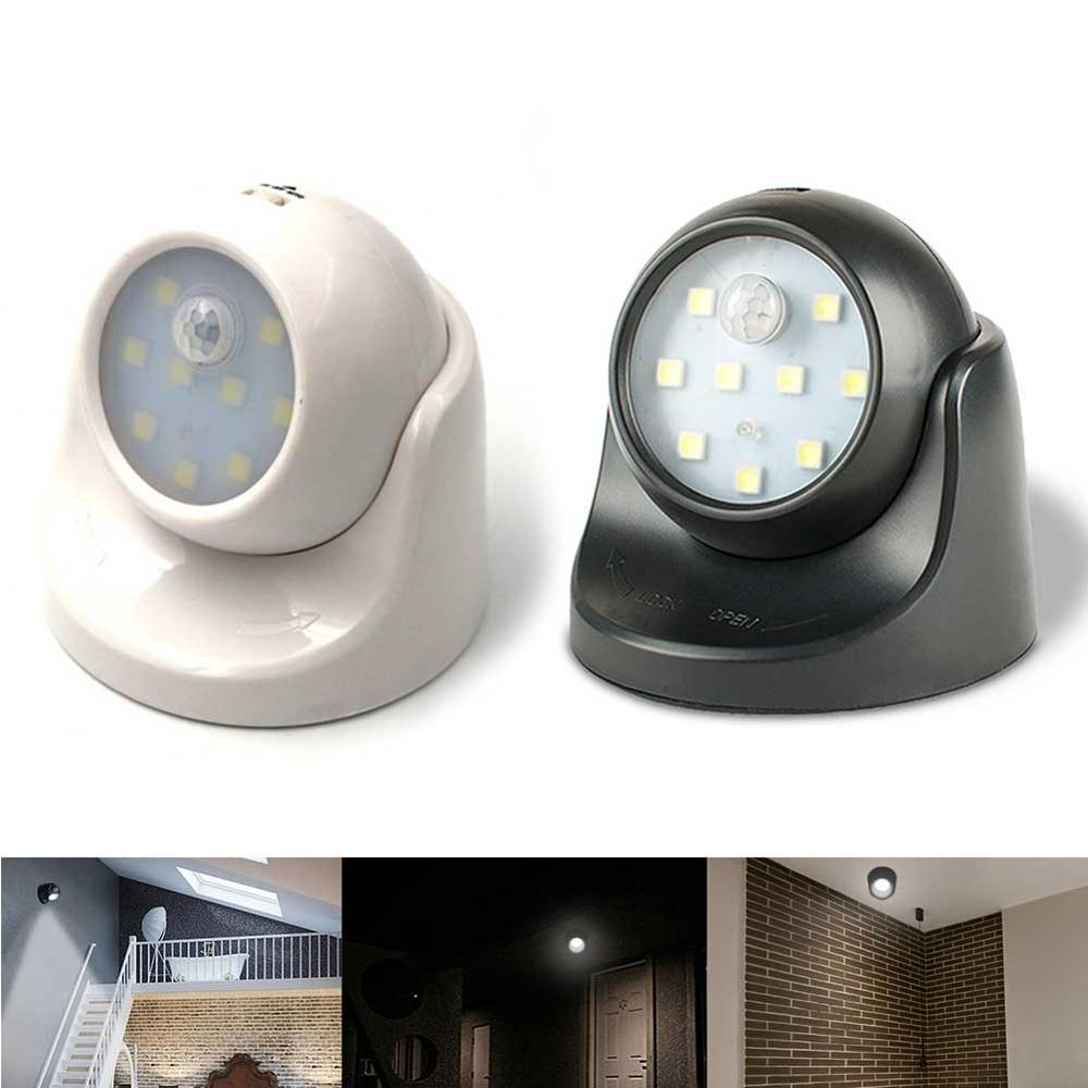 9 Led PIR Motion Sensor Night Auto Induction Ceiling Lamp 360 Rotation Wireless Detector Light Wall Lamp For Stairs Outside Home