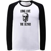 IDzn Casual Blue Black Raglan Long Sleeve T Shirts Long Live The Beard Skulls Graphic T