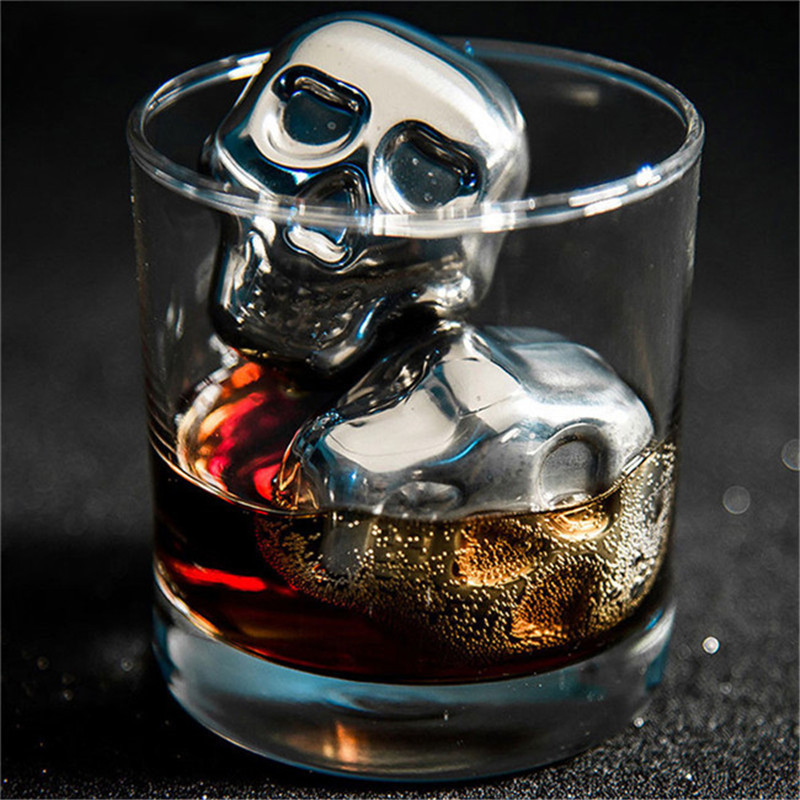 Stainless Steel Skull Ice Cube Cooling Beer Whisky Wine Cocktail Rock Cooler Stones Sipping Chillers Bar Tool Travel Accessories