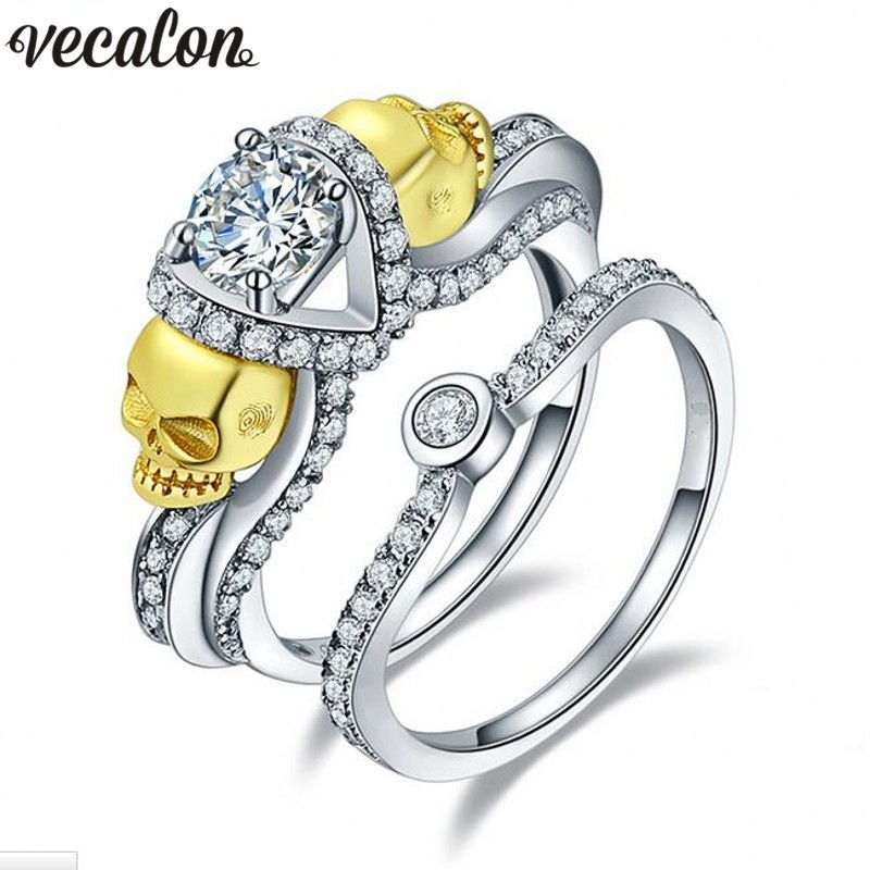 Vecalon Women Gold Skull Jewelry 2ct Simulated Diamond Cz 925 Sterling silver Wedding Band Ring Set