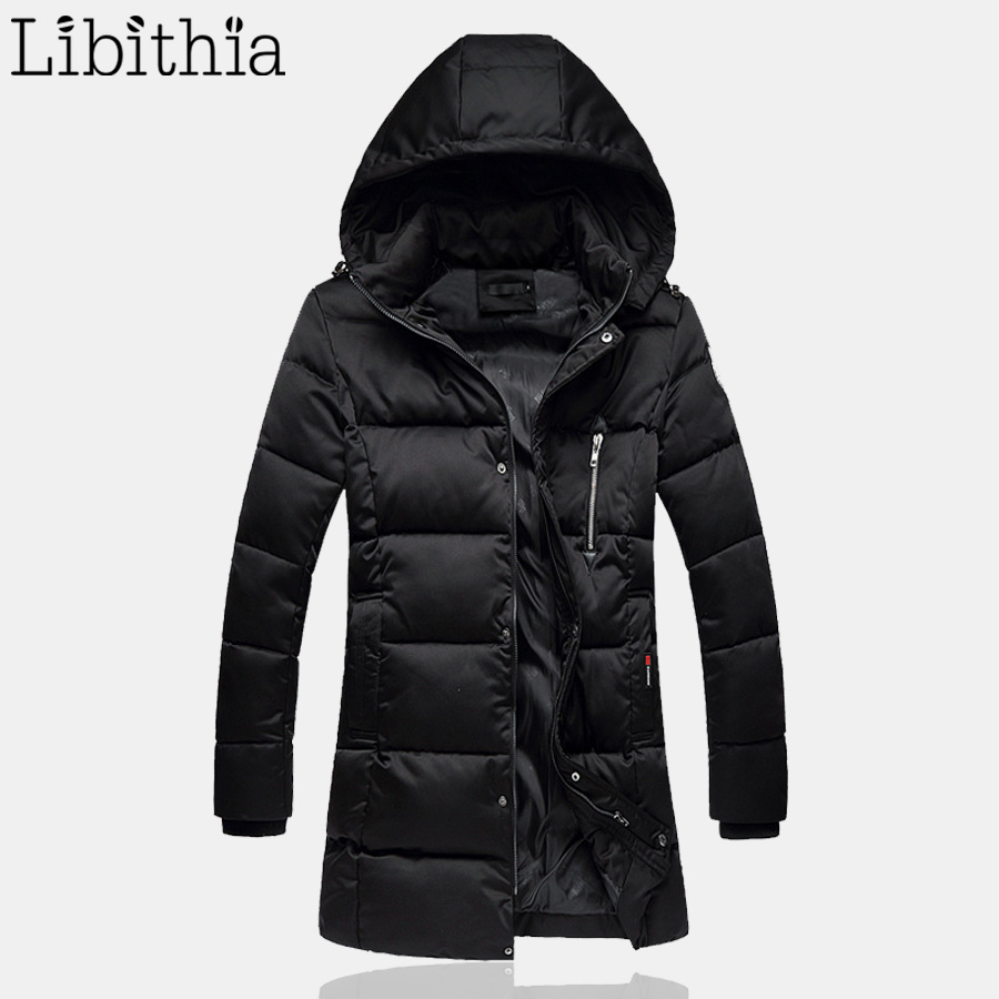 Men Zipper Cotton Down Parka Detachable Hat Long Style Thick Warm Fashion Hooded Coats Windproof Winter Big Size 5XL Black K107 fashion detachable hooded thick jackets men warm winter jacket parka men 2017 loose mens coats overcoats windproof cotton parkas